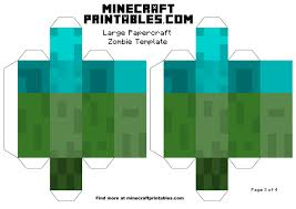 minecraft printable papercraft zombie template large page 3