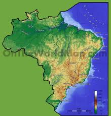 Physical Map South America by Brazil Physical Map