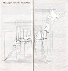 Ana Route Map Airline Memorabilia Ana All Nippon Airways 1989