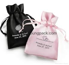 personalized favor bags wholesale bulk personalized custom small black and pink satin wedding