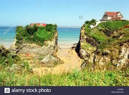 house and bridge at towan beach in newquay in cornwall britain uk