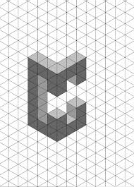 letter c 3d shadow test isometric paper much like the letter a