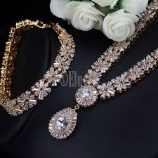 jewelry sets exclusive dubai gold color luxury cubic zirconia necklace earring
