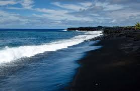 black sand beach big island a darker shade of black everywhere once