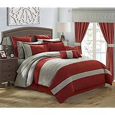 Red And Grey Comforter Sets Amazon Com Chic Home Covington 24 Piece Comforter Set Embroidered