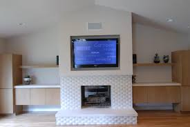 Fireplace With Music by Tv Inset Over Fireplace With In Wall Center Speaker Yelp