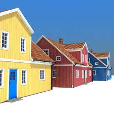 three houses three houses low poly 3d model cgstudio