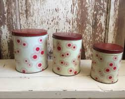 vintage kitchen canisters etsy