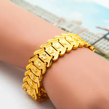 luxury chain bracelet images 2018 top luxury gold color bracelet bangle wide surface gold jpg