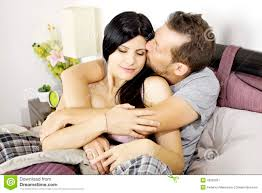 Kiss In Bed Man In Love Kissing Wife In Bed Stock Photo Image 43962031