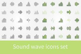 music sound wave icons set icons creative market