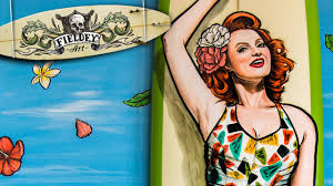 Surf Mural by Retro Surfer Painted Surfboard And Mural Speed Painting Youtube
