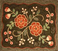 Wool Hand Hooked Rugs Primitive Floral 2