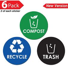amazon com recycle trash compost bin sticker 4