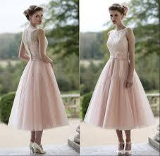 vintage dusty pink tea length bridesmaid dresses illusion neckline