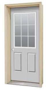 Prehung Steel Exterior Doors Commander Primed Steel 9 Lite Prehung Entry Door At Menards