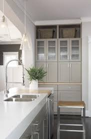 Gray Shaker Kitchen Cabinets Greige Cabinets And Thick Counters Kitchen Pinterest