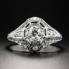 objet deco retro art deco 32 carat center platinum diamond ring vintage jewelry