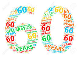 60 years birthday colorful word cloud for celebrating a 60 year birthday or