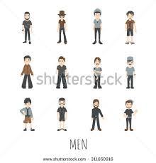 men set set detailed characters men women stock vector 400878577