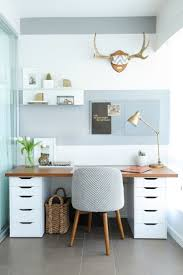 best 25 small office design ideas on pinterest home study rooms small home office with gray and white striped wall wood and white desk tile floor and patterned chair