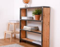 industrial pipe and wood bookcase rustic wood metal