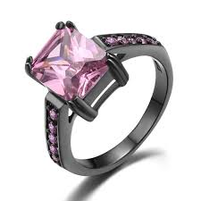 black gold mothers ring big pink sapphire black gold plated women s engagement wedding
