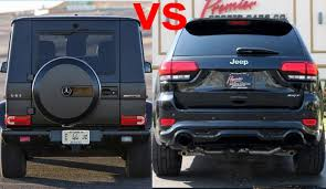mercedes jeep black 2016 mercedes g63 amg vs 2016 jeep grand cherokee srt8 design
