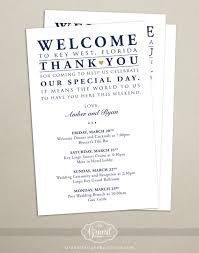 Destination Wedding Itinerary Itinerary Cards For Wedding Hotel Welcome Bag Printed Schedule