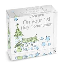 communion gifts boy personalised boys holy communion gift blue whimisical church