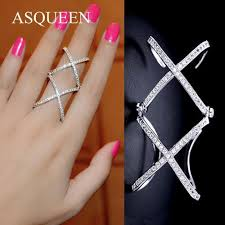 double knuckle rings images Knuckle ring rose gold platinum plated double x shaped full finger rin jpg