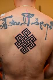 upper back nice black ink endless knot tattoo design with letters