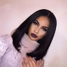 jet black short hair malaysian grade 8a full lace wig short black hair middle part