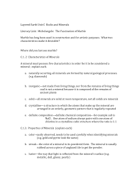 Mohs Hardness Scale Worksheet Layered Earth Unit C1 Minerals Worksheet Key