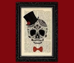 sugar skull hat bow tie print dia de los muertos poster