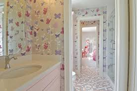Pink Tile Bathroom Gray And Pink Bathroom With Penny Tiles Contemporary Bathroom