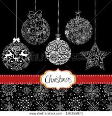 black christmas cards black white christmas ornaments card template stock vector 120355873