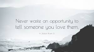 Quotes About Telling Someone You Love Them by H Jackson Brown Jr Quote U201cnever Waste An Opportunity To Tell