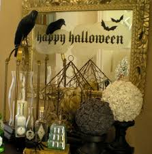 large mirror with golden steel frame also happy halloween stickers