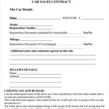 second car sale agreement and contract letter template vlcpeque