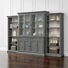 Bookshelves Glass Doors by Cameo 4 Piece Grey Glass Door Wall Unit W Open Bookcases Crate
