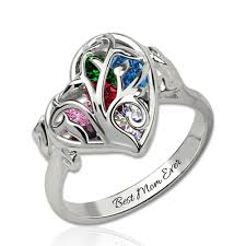 custom mothers day ring with heart birthstones platinum plated