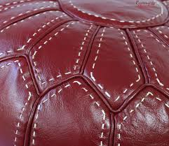 Leather Moroccan Ottoman by Pouf Ottoman Stuffed In The Uk Genuine Burgundy Leather Handmade