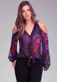 bebe blouses lyst bebe cold shoulder blouse in purple