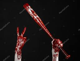 halloween blood background bloody hand holding a baseball bat a bloody baseball bat bat