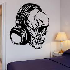 popular plastic rock wall buy cheap plastic rock wall lots from new creative skull headphones music vinyl wall sticker cool decor rock pop for bedroom mural art