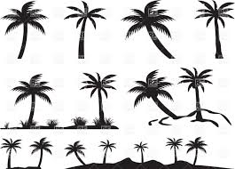 silhouettes of palm trees and islands vector clipart image 34998