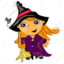 halloween witch holding broom autumn holiday illustration royalty