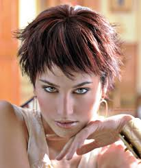 short pixie haircut with heavily textured short bangs and sides