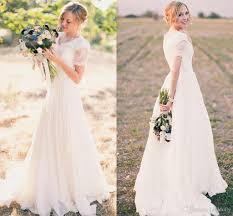 modest wedding dresses 2017 a line chiffon short sleeves v neck